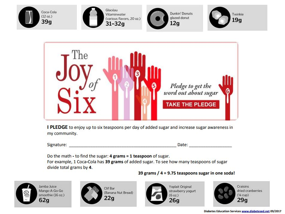 """The Joy of Six – Sugar Pledge Banner – We are happy to share our """"Joy of  Six"""" banner for you to download and share with your friends and colleagues."""